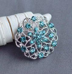 5 Teal Blue Aqua Blue Rhinestone Button Crystal Embellishment Wedding Brooch Bouquet Cake Hair Comb Shoe Clip DIY Supply BT337