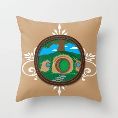 Bag End Throw Pillow by Out of the Dust Designs - $20.00  lord of the rings, bilbo, hobbit, sting, aragorn, gandalf, graphic design, art