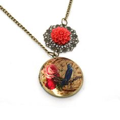 Blue Bird and Rose Locket Illustration Necklace by LaurasJewellery, £9.50
