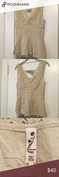 853c52df11000 Anthropologie FLOREAT Cutout Embroidery Peplum Top Anthropologie Floreat  BOHO peplum top Light Weight Cream colored blouse