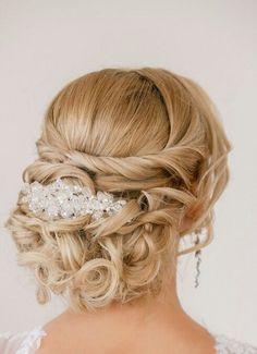 Curly Bun Wedding Hairstyle Idea
