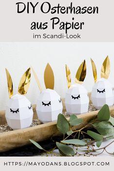 DIY Osterhasen aus Papier im Scandilook Origami, Easter, Blog, Crafts, Calzone, Design, Decor, Craft Ideas, Ideas
