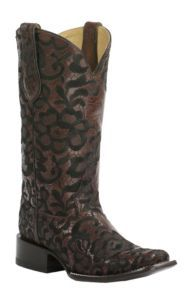 Corral Women's Chocolate with Black Floral Embroidery Double Welt Square Toe Western Boots   Cavender's