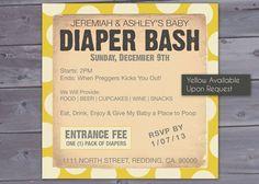 Diaper Bash - Baby Shower Invitation Printable. $12.00, via Etsy.