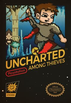 Uncharted Among Thieves - The Playstation game mocked up as an old NES box.