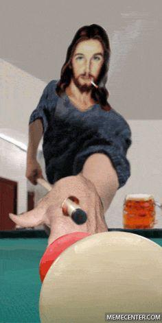 Playing pool Jesus