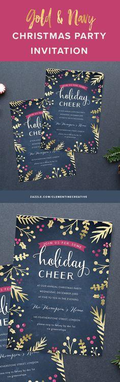 Your guests will be impressed by this beautiful Christmas party invitation with striking gold foliage border consisting of hand-drawn ferns, mistletoe, berries and leaves. Click here to customize it and get it printed for you.