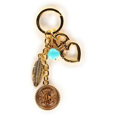 JUICY COUTURE Womens Coin Key Fob ($30) ❤ liked on Polyvore featuring accessories, gold, heart key ring, key chain rings, juicy couture key chain, juicy couture and ring key chain