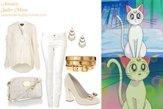 Like Sailor Moon Outfits on Facebook! ASOS POP leather high heels in White ASOS metallic metal keeper super skinny waist belt in Metallic Gold Forever 21 crescent trio earrings in Gold MOTO white baxter jeans Floozie white quilted crossbody bag Topshop frill sleeve pussybow blouse in Cream