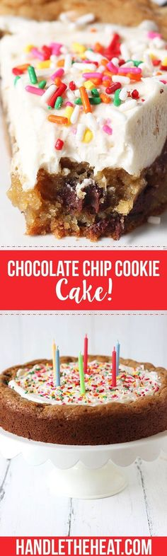 This might be better than birthday cake!! So chewy, gooey, and loaded with melty chocolate chips!! Topped with creamy vanilla buttercream and ALL THE SPRINKLES.