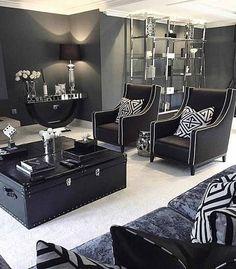 Art Deco Living room, black and white living room, B&W, glamorous living room, cool living roo. Art Deco Living Room, Glam Living Room, Living Room Decor Cozy, Rooms Home Decor, Living Room Interior, Living Room Designs, Room Art, Glamorous Living Rooms, Zebra Living Room