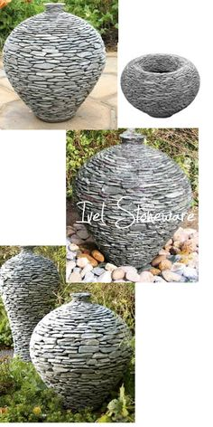 ivel stoneware stacked stone planters and water features garden design