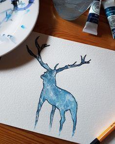 Deer painted in aquarelle