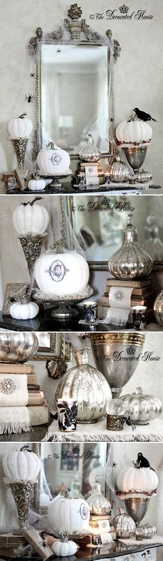 HOLIDAYS   HALLOWEEN :: My most favorite Halloween decor I think I've seen! SO CUTE!! Love her Annie Sloan chalk paint pumpkins! & She tells you how to do all this decor, too.   #halloween #thedecoratedhouse