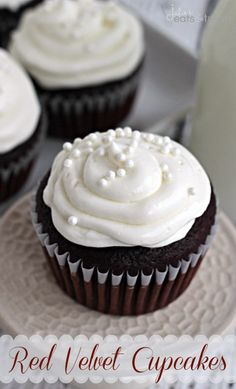 Red Velvet Cupcakes ~ Perfect Red Velvet Cupcakes topped with an amazing cream cheese frosting! #holidaysweets, #healthierholidays, #Truvia #cupcakes #cupcakeideas #cupcakerecipes #food #yummy #sweet #delicious #cupcake #cupcakes #cupcakeideas #cupcakerecipes #food #yummy #sweet #delicious #cupcake