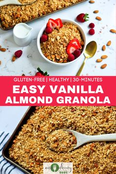 A healthy granola recipe made easy.  Vanilla Almond Granola is an easy recipe that's sweetened with honey and vanilla, crunchy with almonds and a little hint of salt from pink Himalayan sea salt.  It's a gluten-free, healthy, 30-minute breakfast! Ana Ankeny - Healthy Recipes Clean Eating Breakfast, Healthy Breakfast Recipes, Clean Eating Recipes, Healthy Snacks, Healthy Recipes, Breakfast Cake, Breakfast Ideas, Delicious Recipes, Fall Recipes