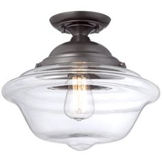 """Possini Euro Schoolhouse 13"""" Wide  Bronze Ceiling Light FOR OVER KITCHEN SINK"""