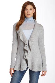 Long Sleeve Wool Blend Ruffle Cardigan