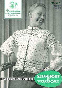 Oppskrifter - Alle gratisoppskrifter - Sandnes Garn Fair Isle Chart, Norwegian Knitting, Fair Isle Knitting, Knit Jacket, Vintage Knitting, Color Combinations, Mantel, Knitting Patterns, Graphic Sweatshirt