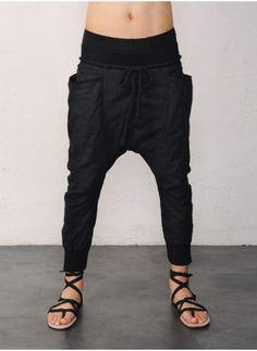 Mens Drop Crotch Rib Cropped Linen Pants at Fabrixquare