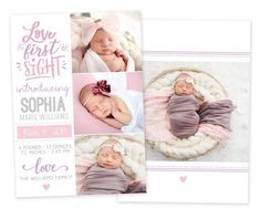Announce the arrival of your new baby to family and friends with this Love at First Sight birth announcement template. Colors can be changed match her newborn portraits! This customizable card is the perfect way to share your new baby's photos with your friends and family so they can delight in your Newborn Birth Announcements, Holiday Birth Announcement, Baby Boy Birth Announcement, Birth Announcement Template, Announcement Cards, New Baby Products, Heart Designs, Etsy Shop, Portraits