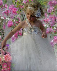 Flower Girl Dress  Ivory Tulle Wedding Dress for by Jillybeantutus, $64.00