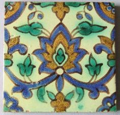 Antique tile made at Kallal el Kadine in Nabeul Tunisia in the early 20th Century with a Moorish design. During the 1920's building boom in California a high quality and reliable source of large quant
