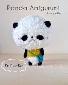 Get free panda amigurumi pattern, Pan-San, fuzzy fur panda that carries a blue cross body bag, it loves sweet snack & green tea & cat-nap all day long