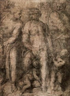 "artemisdreaming: Epifania, 1550-53 Michelangelo Buonarroti Detail From wiki: ""Epifania (Italian - Epiphany) is a cartoon or full-scale drawing in black chalk by Michelangelo, produced in Rome around 1550–1553. It is 2.32 metres tall by 1.65 m wide, and is made up of 26 sheets of paper. The composition shows the Virgin Mary, with the Christ child sitting between her legs. An adult male figure to the right, probably St Joseph, is pushed away by Mary. In front of him is the infant St John t..."