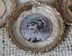 Vintage tin ornaments - coasters, vintage picture, cheesecloth