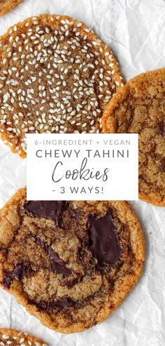 Vegan Treats, Vegan Snacks, Cookies Vegan, Tahini Cookies Recipe, Vegan Chocolate Cookies, Seed Cookies, Vegan Dark Chocolate, Healthy Cookies, Vegan Dessert Recipes