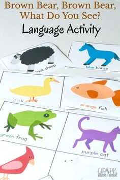 Brown Bear Brown Bear Printable Language Activity is a great way to get children asking questions and using critical thinking skills. It's the perfect activity to do after reading Brown Bear, Brown Bear, What Do You See? via /growingbbb/ Speech Activities, Color Activities, Toddler Activities, Brown Bear Activities, Sensory Activities, Classroom Activities, Communication And Language Activities, Language Development, Child Development