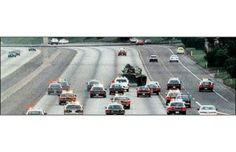 This is a picture of a slow-speed chase in 1995 that lasted 20 minutes when Shawn Nelson decided a M60 Patton Tank would be the perfect getaway vehicle. He got the tank stuck on a highway median as he tried to pull it into oncoming traffic.