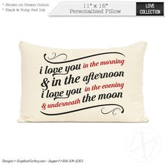 Personalized quote pillows Custom love quote I Love by iXiDesign #personalized #pillow #pillows #interiordesign #interior #design #custom #throwpillows #decorative #decor #love #quotes #prints Personalized Pillows, Custom Pillows, Pillow Quotes, Love You, My Love, Throw Pillows, Interior, Handmade Gifts, Etsy