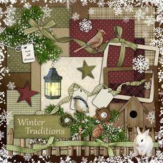 Digital Scrapbook Kit  Winter Traditions  200 plus by cheyOkota, $5,49
