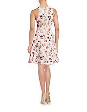 Printed Neoprene Fit-and-Flare Dress