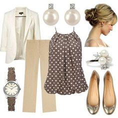Work - white blazer, linen slacks, love the polka dot top - Spring Work Outfits Business Outfits, Business Attire, Business Casual, Corporate Outfits, Business Formal, Business Fashion, Looks Style, Style Me, Top Mode