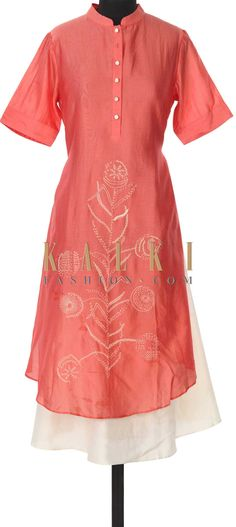 Buy this Peach and cream kurti adorn in thread embroidery only on Kalki