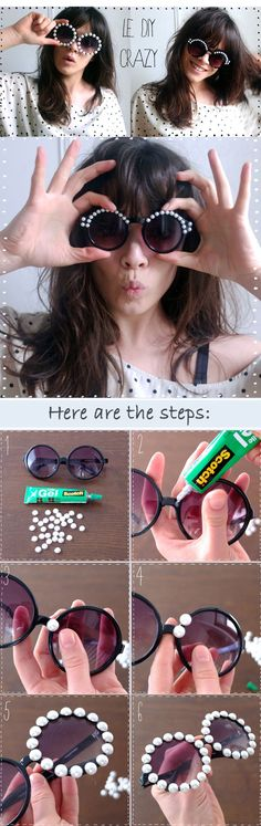 DIY fashion - how to jazz up your round sunglasses in thirty seconds.  #sunglasses #DIY
