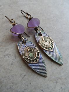 Holy Peacock Feathers ... Bronze Metal Clay by juliethelen on Etsy