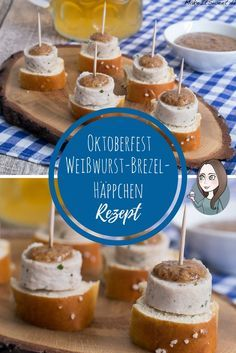 Weisswurst pretzel appetizers with sweet mustard - Fingerfood Bavarian Oktoberfest recipe - simply p Oktoberfest Party, Soup Appetizers, Appetizers For Party, Creole Recipes, Tailgating Recipes, Clean Eating Snacks, Finger Foods, Food And Drink, Easy