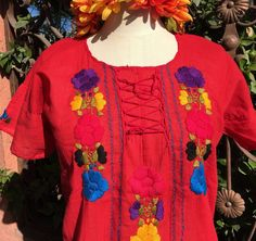 Red & color Hand Embroidered Mayan Huipil Chiapas Mexico Hippie Boho Frida top    | eBay
