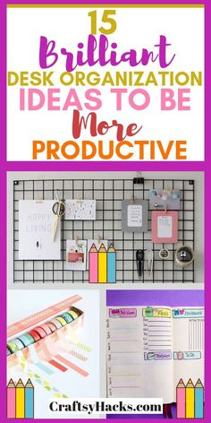 Need some office decor ideas? Here are some brilliant desk organization hacks an. Need some office decor ideas? Here are some brilliant desk organization hacks and productivity tips Organisation Hacks, Small Office Organization, Organizing Hacks, Organizing Your Home, Room Organization, Desk Hacks, Organized Office, Organizing Paperwork, Cheap Home Office