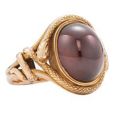 Victorian Garnet Gold Snake Ring