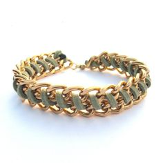 Annie Arm Candy Chain Woven Bracelet Faux Suede Leather Fern Green Chunky Gold Chain Bracelet $13