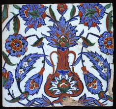 Maker(s):    Unknown; potter  Unknown; potter    Category:    fritware (stonepaste)    Name(s):    tile  Islamic pottery; category  Iznik; category    Date:    circa 1570 — circa 1595    School/Style:    Ottoman    Period:    late 16th Century