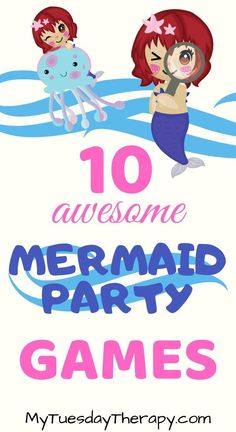 Mermaid Party Games and Activities That Will Make the Little Mermaids Giggle. An awesome birthday party idea for a girl. Mermaid Birthday Party Decorations Diy, Girls Birthday Party Games, Mermaid Party Games, Mermaid Theme Birthday, Birthday Activities, 9th Birthday Parties, Girl Birthday Themes, Mermaid Parties, Kids Party Games
