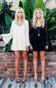Bohemian chic black & white lace crochet mini dresses or beach swimsuit cover ups, modern hippie open toe leather mule shoes & gypsy style jewelry.