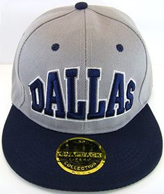 the best attitude 7397d 0e675 Dallas Adjustable OSFA Flat Bill Snapback Baseball Hat Cap with Snap Back  Enclosure Gray with Blue Lettering and Blue Bill
