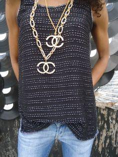vintage CHANEL avant garde gold rhinestone  necklace